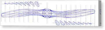 Vintage Airplane Canvas Print - Wooden Aircraft Propeller Blueprint by Jon Neidert