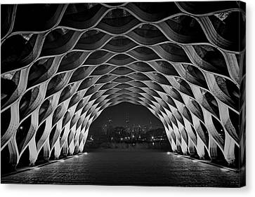 Hancock Building Canvas Print - Wooden Archway With Chicago Skyline In Black And White by Sven Brogren