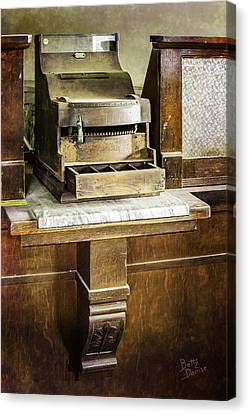 Canvas Print featuring the photograph Wooden Bank Cash Register by Betty Denise