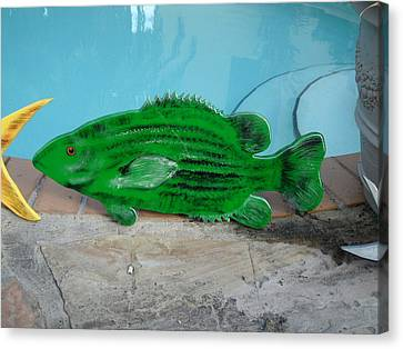 Wooden Bass Fish Canvas Print by Val Oconnor