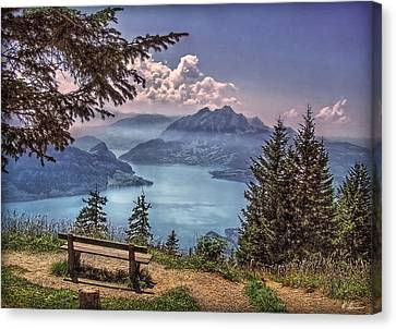 Canvas Print featuring the photograph Wooden Bench by Hanny Heim