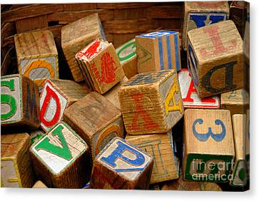 Wooden Blocks With Alphabet Letters Canvas Print by Amy Cicconi