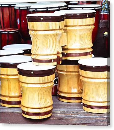 Wooden Bongos Canvas Print by Tom Gowanlock