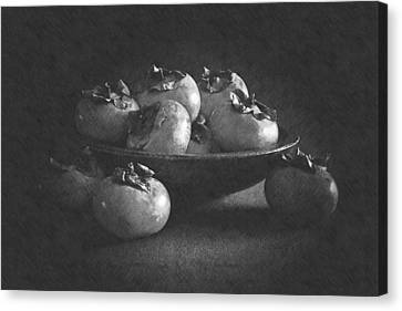 Wooden Bowl Of Persimmons Canvas Print by Frank Wilson
