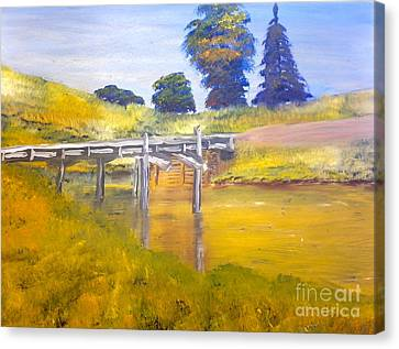 Canvas Print featuring the painting Wooden Bridge At Graften by Pamela  Meredith