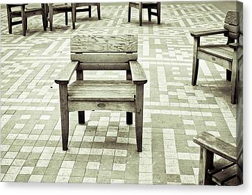 Empty Chairs Canvas Print - Wooden Chairs by Tom Gowanlock