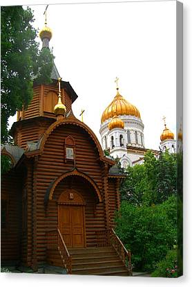 Canvas Print featuring the photograph Wooden Church by Julia Ivanovna Willhite