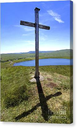 Wooden Cross Overlooking Lake Godivelle. Puy De Dome. Auvergne. France Canvas Print