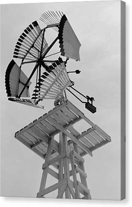 Wooden Dempster Vaneless Windmill Bw Canvas Print by Elizabeth Sullivan