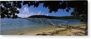 Tonga Canvas Print - Wooden Dock Over The Sea, Vavau, Tonga by Panoramic Images
