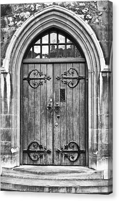 Wooden Door At Tower Hill Bw Canvas Print by Christi Kraft