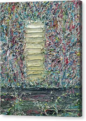 Wooden Door In The Garden Canvas Print by Fabrizio Cassetta