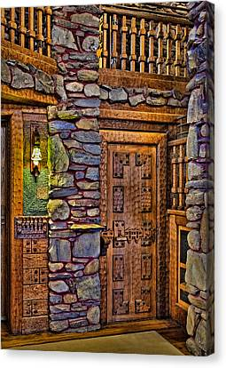 Woodcarving Canvas Print - Wooden Door by Susan Candelario