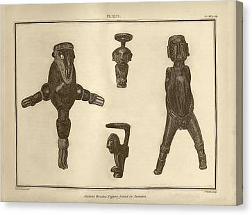 Wooden Figures From Jamaica Canvas Print by Middle Temple Library