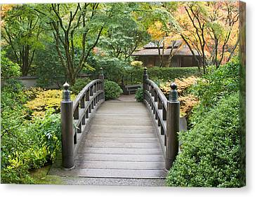 Canvas Print featuring the photograph Wooden Foot Bridge In Japanese Garden by JPLDesigns