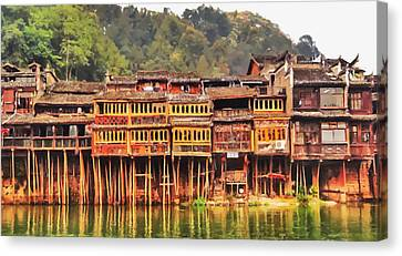 Bamboo House Canvas Print - Wooden Houses by Lanjee Chee