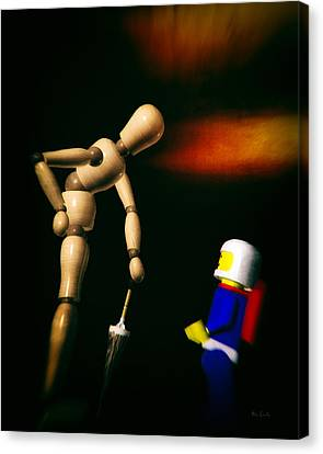 Wooden Man With Umbrella Canvas Print