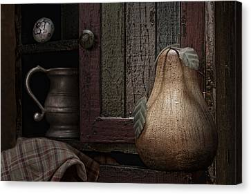 Wooden Pear Still Life Canvas Print by Tom Mc Nemar