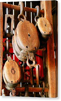 Wooden Pulleys Canvas Print