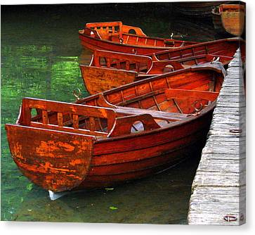 Canvas Print featuring the photograph Wooden Rowboats by Ramona Johnston