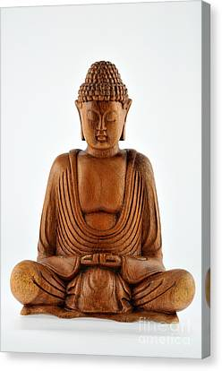 Wooden Statue Of Buddha Canvas Print