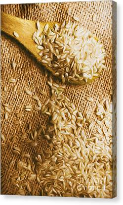 Wooden Tablespoon Serving Of Uncooked Brown Rice Canvas Print