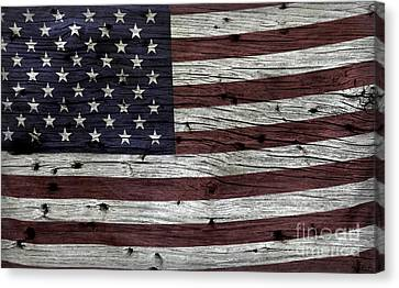Wooden Textured Usa Flag3 Canvas Print by John Stephens