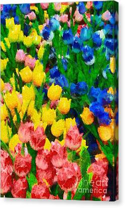 Wooden Tulips In Amsterdam Canvas Print by George Atsametakis