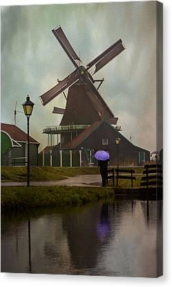 Wooden Windmill In Holland Canvas Print by Juli Scalzi