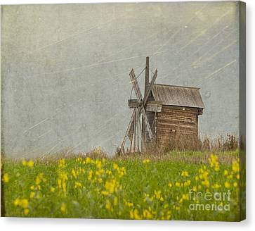 Old Wooden Windmill.  Kizhi Island.  Russia Canvas Print by Juli Scalzi
