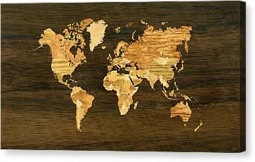 Wooden World Map Canvas Print by Hakon Soreide
