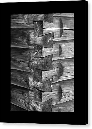 1875 Woodgrain Log Cabin Corner Study In  Black White Canvas Print by Jack Pumphrey