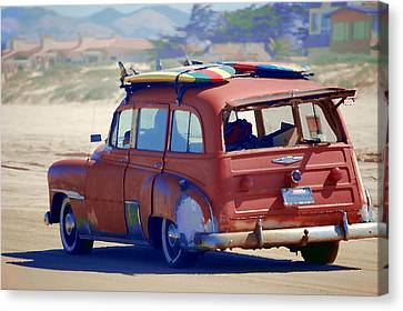 Woodie On The Beach Canvas Print