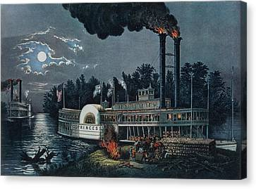 Moonlit Canvas Print - Wooding Up On The Mississippi Colour Litho by N. Currier