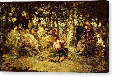 Woodland Fete Oil On Panel Canvas Print by Adolphe Joseph Thomas Monticelli