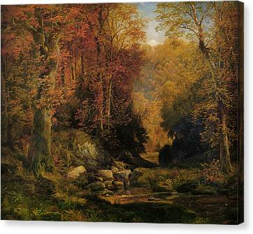 Woodland Interrior With Rocky Stream Canvas Print by Thomas Moran