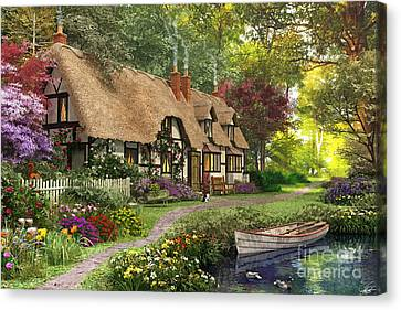 Row Boat Canvas Print - Woodland Walk Cottage by Dominic Davison