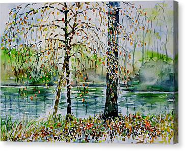 Canvas Print featuring the painting Woodmans Pond by Alfred Motzer