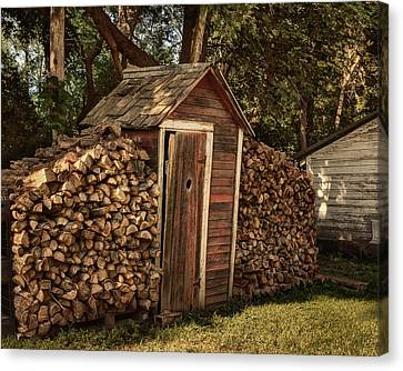 Woodpile Canvas Print - Woodpile And Shed by Nikolyn McDonald