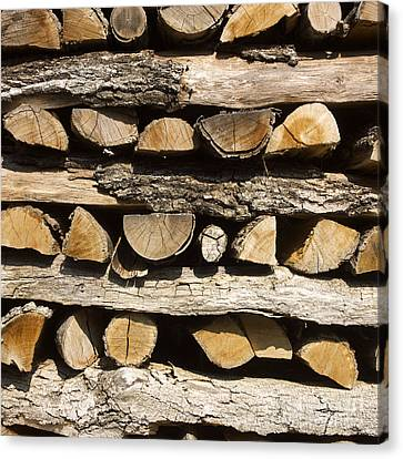 Woodpile Canvas Print - Woodpile. by Bernard Jaubert
