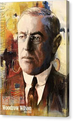 Founding Fathers Canvas Print - Woodrow Wilson by Corporate Art Task Force