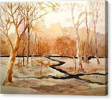 Woods By The Reservoir Canvas Print by Larry Hamilton