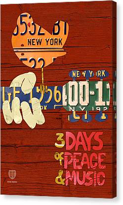 Inspire Canvas Print - Woodstock Music Festival Poster License Plate Art by Design Turnpike