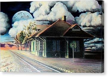 Lamp Post Canvas Print - Woodstock Station by DA Neace