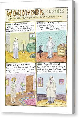 Full Skirt Canvas Print - Woodwork Clothes by Roz Chast