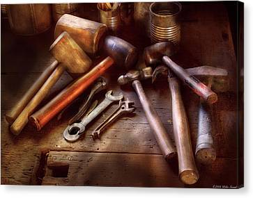 Woodworker - A Collection Of Hammers  Canvas Print by Mike Savad
