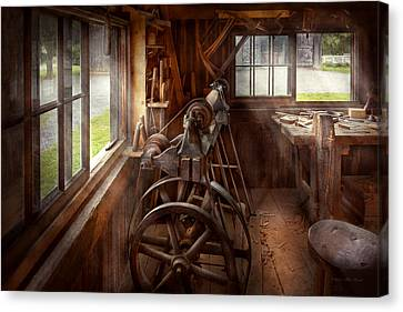 Woodworker - The Art Of Lathing Canvas Print by Mike Savad