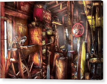 Woodworker - The Workshop Of A Very Busy Person Canvas Print by Mike Savad