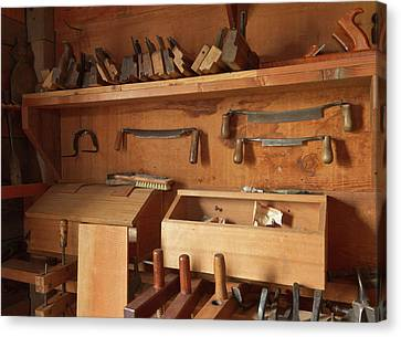 Woodworking Tools In Carpentry Shop Canvas Print by William Sutton
