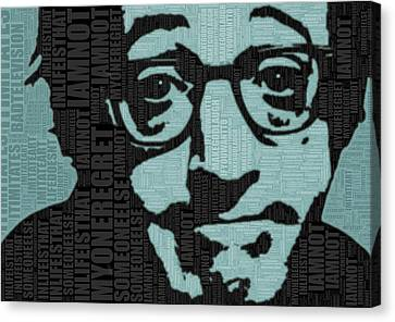 Woody Allen And Quotes Canvas Print by Tony Rubino